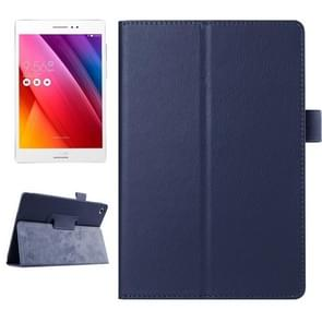 Litchi Texture Horizontal Flip Solid Color Smart Leather Case with Holder & Sleep / Wake-up Function for ASUS ZenPad S 8.0 / Z580C(Dark Blue)