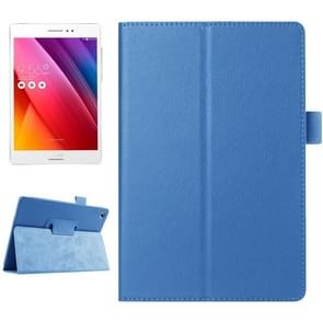Litchi Texture Horizontal Flip Solid Color Smart Leather Case with Holder & Sleep / Wake-up Function for ASUS ZenPad S 8.0 / Z580C(Blue)