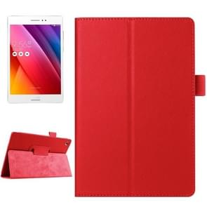 Litchi Texture Horizontal Flip Solid Color Smart Leather Case with Holder & Sleep / Wake-up Function for ASUS ZenPad S 8.0 / Z580C(Red)