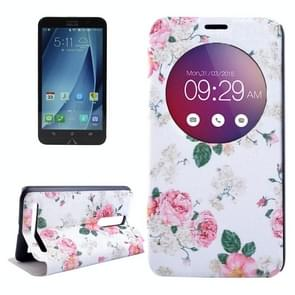Chinese Rose Pattern Horizontal Flip Leather Case with Holder & Caller ID Display for Asus Zenfone 2 ZE550ML / ZE551ML