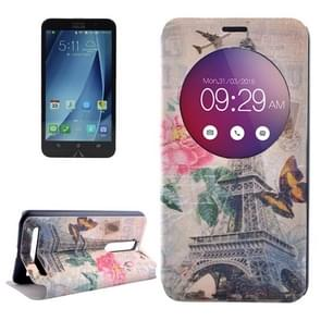 Eiffel Tower & Butterfly Pattern Horizontal Flip Leather Case with Holder & Caller ID Display for Asus Zenfone 2 ZE550ML / ZE551ML