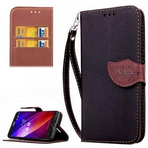 Leaf Magnetic Snap Litchi Texture Horizontal Flip Leather Case with Card Slots & Wallet & Holder & Lanyard for Asus Zenfone 2 ZE550ML / ZE551ML(Black)