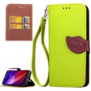 Leaf Magnetic Snap Litchi Texture Horizontal Flip Leather Case with Card Slots & Wallet & Holder & Lanyard for Asus Zenfone 2 ZE550ML / ZE551ML(Green)