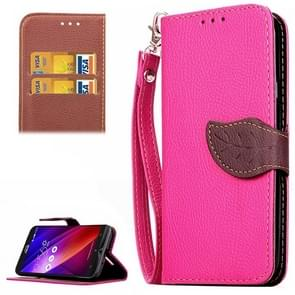 Leaf Magnetic Snap Litchi Texture Horizontal Flip Leather Case with Card Slots & Wallet & Holder & Lanyard for Asus Zenfone 2 ZE550ML / ZE551ML(Magenta)