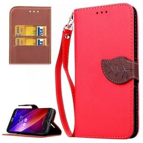 Leaf Magnetic Snap Litchi Texture Horizontal Flip Leather Case with Card Slots & Wallet & Holder & Lanyard for Asus Zenfone 2 ZE550ML / ZE551ML(Red)