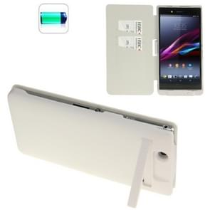 5000mAh Portable Power Bank External Battery Leather Case with Credit Card Slot & Holder for Sony Xperia Z Ultra / XL39h(White)