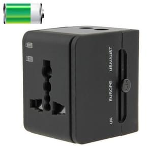 International 2.1A 2-USB EU / AU / UK / US Plug Travel Universal Adaptor(Black)