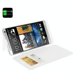 4200mAh draagbare Power Bank / externe batterij met Flip lederen hoesje voor HTC One Max / T6 / 809dwit