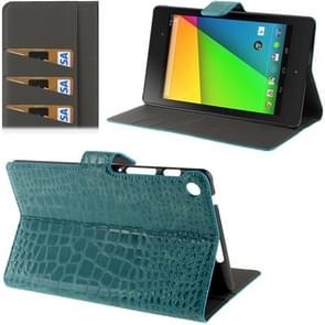 Crocodile Texture Flip Leather Case with Holder & Credit Card Slots for Google Nexus 7 (2013 Version), Turquoise