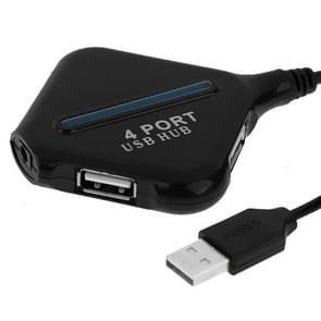 High Speed 480Mbps 4 Ports USB 2.0 HUB Portable USB Splitter with Blue Indicator(Black)