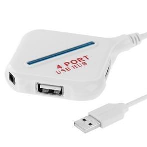 High Speed 480Mbps 4 Ports USB 2.0 HUB Portable USB Splitter with Blue Indicator(White)