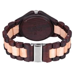 SKONE Round Dial Calendar Display Nail Scale Men Quartz Watch with Maple + Sandalwood Band (Beige + Dark Coffee)