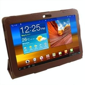 Leather Case with Holder for Samsung Galaxy Tab P5100 (Brown)(Coffee)
