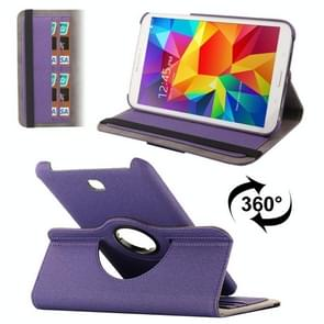360 Degree Rotatable Denim Texture Leather Case with Credit Card Slots & Holder for Samsung Galaxy Tab 4 8.0 / T330(Purple)