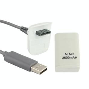 3600mAh Rechargeable Battery Pack & Chargeable Cable For XBOX 360(White)