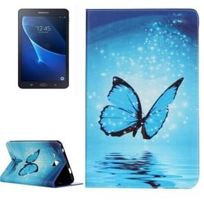For Samsung Galaxy Tab A 7.0 / T280 Painting Blue Butterfly Pattern Horizontal Flip Leather Case with Holder