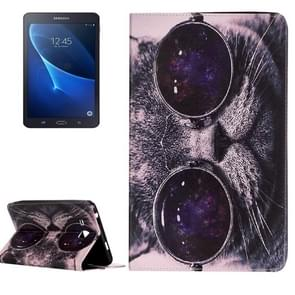 For Samsung Galaxy Tab A 7.0 / T280 Painting Wearing Glasses Cat Pattern Horizontal Flip Leather Case with Holder