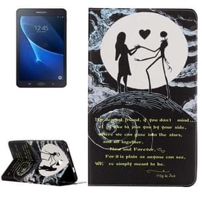 For Samsung Galaxy Tab A 7.0 / T280 Embossment Moon Couple Pattern Horizontal Flip Leather Case with Holder