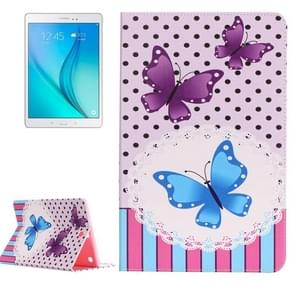 For Samsung Galaxy Tab A 9.7 / T550 Painting Purple and Blue Butterflies Pattern Horizontal Flip Leather Case with Holder