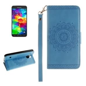 For Samsung Galaxy S5 / G900 Embossed Floral Pattern Horizontal Flip Leather Case with Card Slots & Holder & Lanyard(Blue)