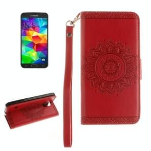 For Samsung Galaxy S5 / G900 Embossed Floral Pattern Horizontal Flip Leather Case with Card Slots & Holder & Lanyard(Red)