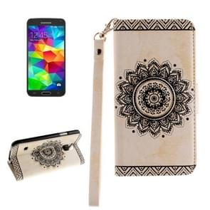 For Samsung Galaxy S5 / G900 Embossed Floral Pattern Horizontal Flip Leather Case with Card Slots & Holder & Lanyard(White)