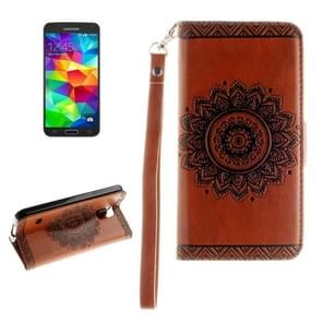 For Samsung Galaxy S5 / G900 Embossed Floral Pattern Horizontal Flip Leather Case with Card Slots & Holder & Lanyard(Brown)