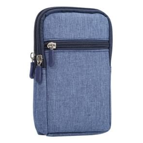 Universal Jeans Leisure Style Leather Case / Waist Bag for Samsung Galaxy Note 8 & S7 Edge / iPhone X & 7 & 7 Plus & 6 Plus & 6s Plus / Huawei Mate 8, Size:18.0 x 11.0 x 2.5cm(Dark Blue)