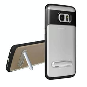 For Samsung Galaxy S7 Edge / G935 TPU + PC Transparent Combination Back Cover Case with Magnetic Holder(Black)