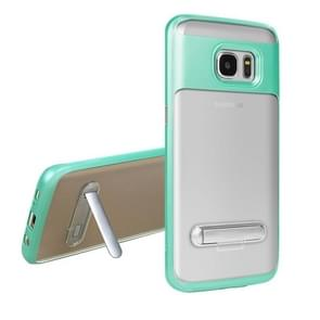 For Samsung Galaxy S7 Edge / G935 TPU + PC Transparent Combination Back Cover Case with Magnetic Holder (Green)