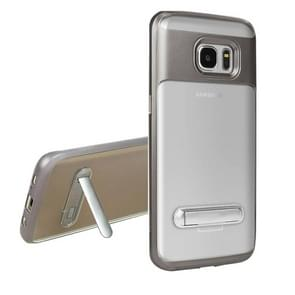 For Samsung Galaxy S7 Edge / G935 TPU + PC Transparent Combination Back Cover Case with Magnetic Holder (Grey)