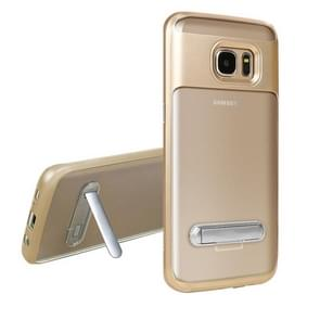 For Samsung Galaxy S7 Edge / G935 TPU + PC Transparent Combination Back Cover Case with Magnetic Holder (Gold)