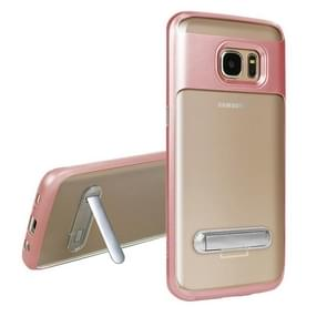 For Samsung Galaxy S7 Edge / G935 TPU + PC Transparent Combination Back Cover Case with Magnetic Holder (Rose Gold)
