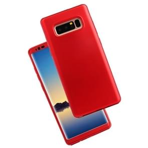 For Samsung Galaxy Note 8 PU + PC 360 Degree Full Coverage Combination Protective Back Cover Case (Red)