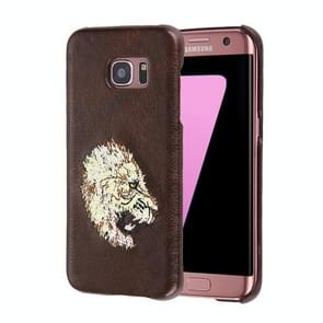 For Samsung Galaxy S7 Edge / G935 Oil Skin Texture Embroidery Lion Pattern PU Paste Skin PC Protective Case