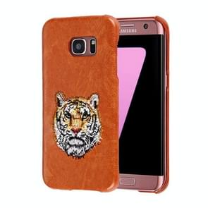 For Samsung Galaxy S7 Edge / G935 Oil Skin Texture Embroidery Tiger Pattern PU Paste Skin PC Protective Case