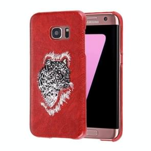 For Samsung Galaxy S7 Edge / G935 Oil Skin Texture Embroidery Leopard Pattern PU Paste Skin PC Protective Case
