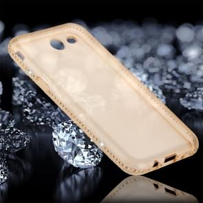 For Samsung Galaxy J7 (2017) (US Version) Diamond Encrusted Transparent Soft TPU Protective Back Cover Case (Gold)