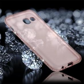 For Samsung Galaxy A7 (2017) Diamond Encrusted Transparent Soft TPU Protective Back Cover Case (Pink)