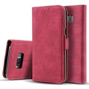 For Samsung Galaxy S8 + / G9550 Retro Style Mesh Breathable Horizontal Flip Leather Case with Card Slot & Holder & Wallet(Red)