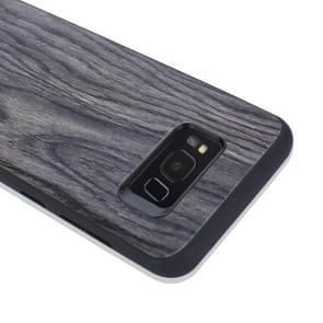 For Samsung Galaxy S8 Wood Texture Leather Paste Protective Back Cover Case (Grey)
