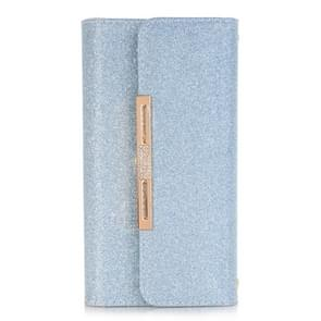 For Samsung Galaxy Note 8 Glitter Powder Frosted Shoulder Bag Horizontal Flip Leather Case Cover with Card Slots (Blue)