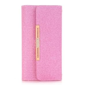 For Samsung Galaxy Note 8 Glitter Powder Frosted Shoulder Bag Horizontal Flip Leather Case Cover with Card Slots (Magenta)