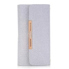 For Samsung Galaxy Note 8 Glitter Powder Frosted Shoulder Bag Horizontal Flip Leather Case Cover with Card Slots (Silver)