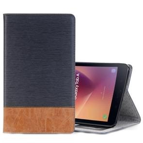 For Samsung Galaxy Tab A 8.0 (2017) / T385 Cross Texture Horizontal Flip Case Cover with Card Slots & Holder & Wallet (Navy Blue)