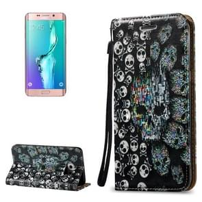 For Samsung Galaxy S6 Edge+ / G928 3D Relief Skull Pattern Horizontal Flip Leather Case with Holder & Card Slots & Lanyard