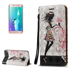 For Samsung Galaxy S6 Edge+ / G928 3D Relief Butterfly Flower Fairy Pattern Horizontal Flip Leather Case with Holder & Card Slots & Lanyard