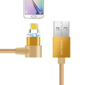 POFAN YAOMAISI Q13 1m Micro USB to USB L-Type Nylon Weave Data Sync Charging Cable, For Galaxy, HTC, Google, LG, Sony, Huawei, Xiaomi, Lenovo and Other Smartphones (Gold)