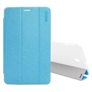 ENKAY for Samsung Galaxy Tab A 2017 8.0 T380 / T385 Three Fold Silk Texture PU + Plastic Protective Case with Holder & Sleep / Wake-up Function (Baby Blue)