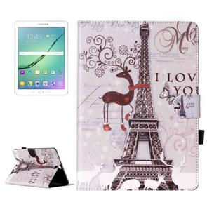 For Samsung Galaxy Tab S2 9.7 / T815 Deer and Tower Pattern Horizontal Flip Leather Case with Holder & Card Slots & Wallet